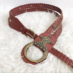 LINEA PELLE braided multi strand leather belt stud